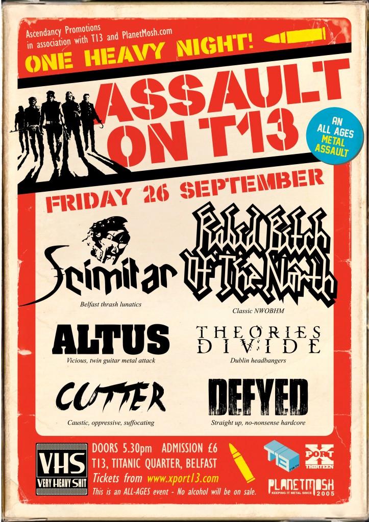 assault on t13 metal gig poster