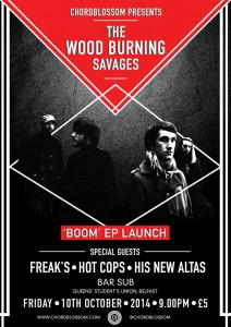 wood burning savages a4 online gig poster - revised for venue