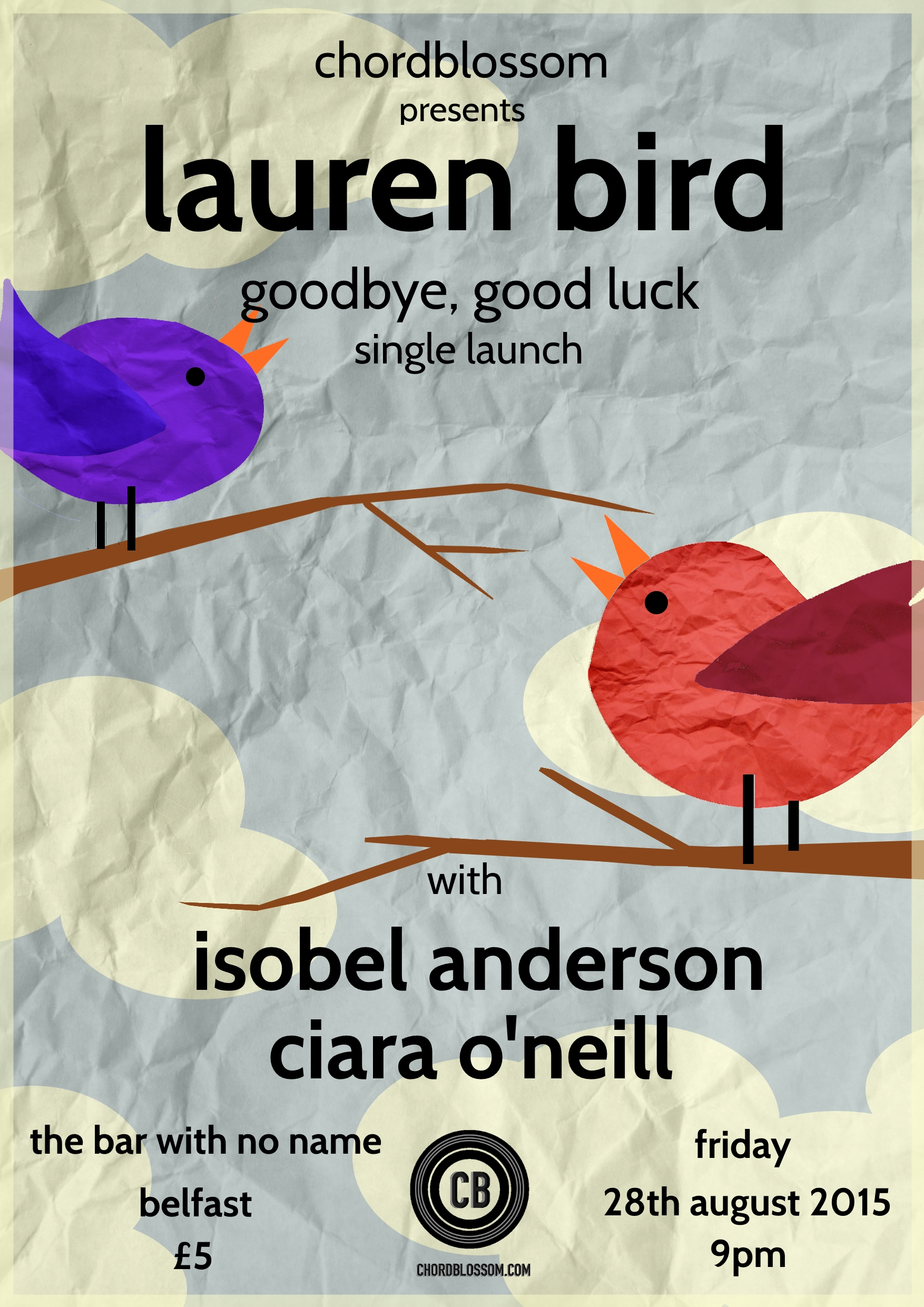 Chordblossom Presents: Lauren Bird 'Goodbye Goodluck Single Launch with Isobel Anderson & Ciara O'Neill