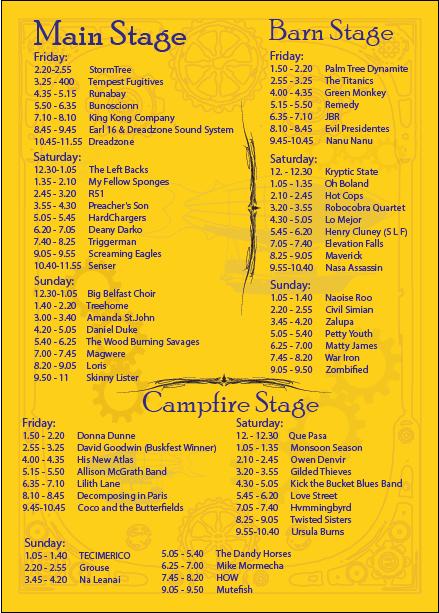 sunflowerfest 2015 - stage times main