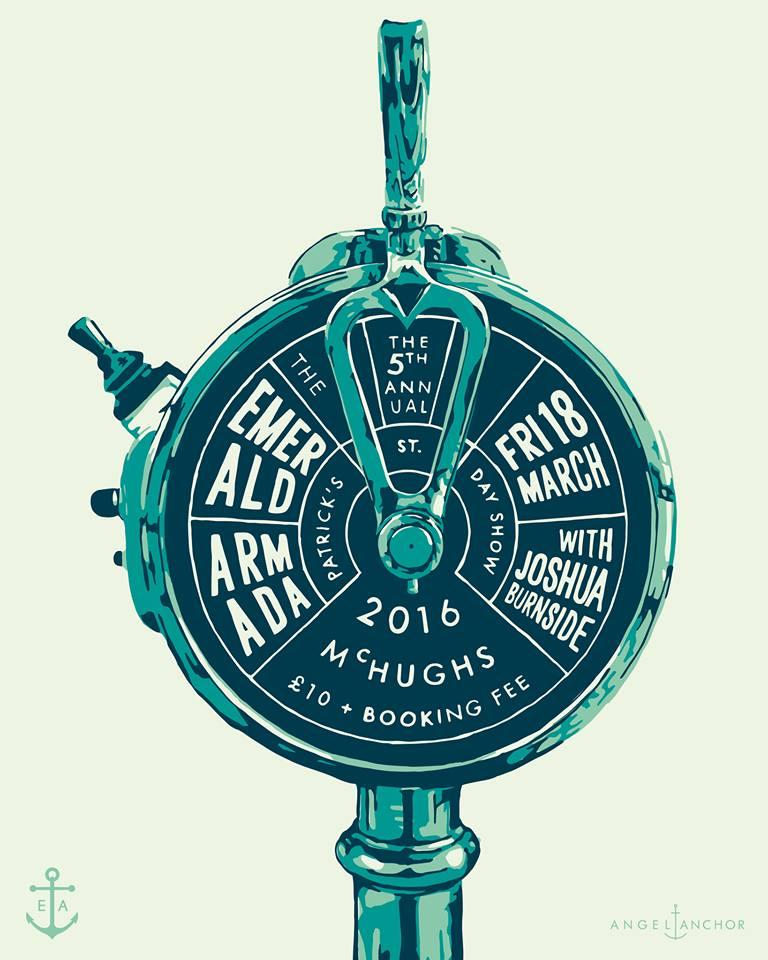 emerald armada st patricks 2016 gig poster