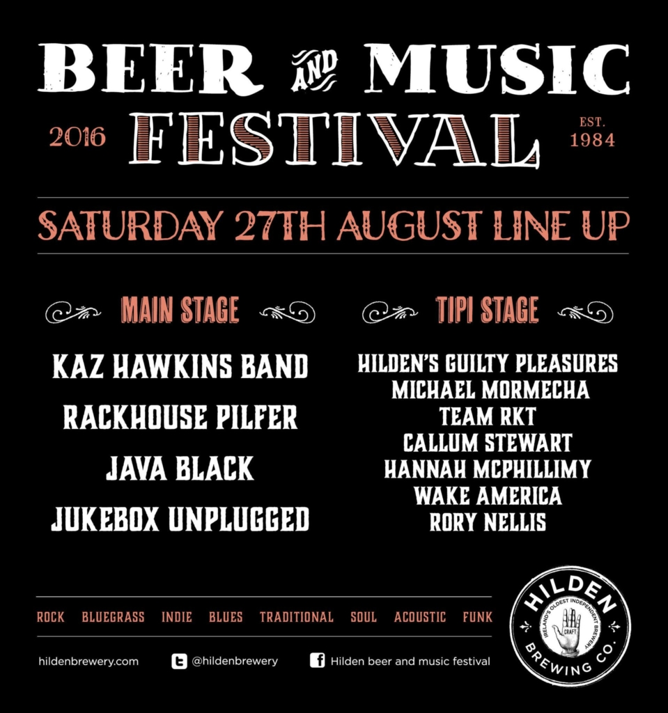 saturday lineup Hilden Beer and Music festival 2016