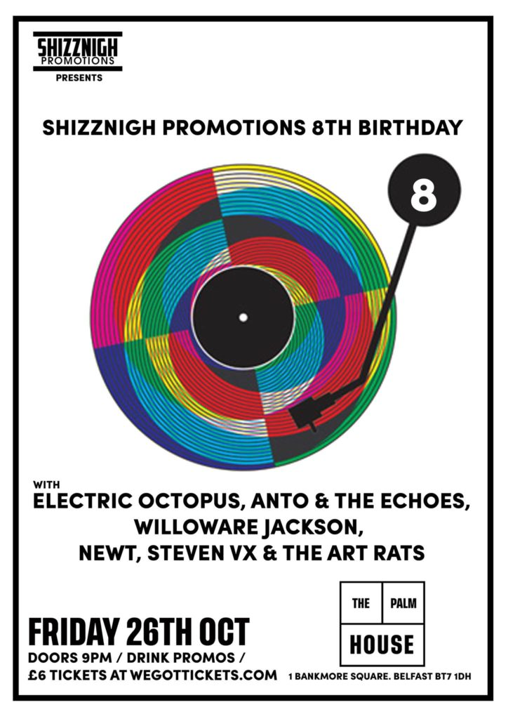 shizznigh promotions 8th birthday gig poster jonny mckee